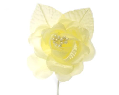 "2.5"" Yellow Silk Single Rose Flowers - Pack of 12"