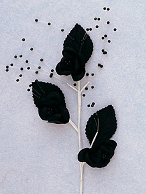 "6"" Black Small Rose Flowers with Spray - Pack of 12"