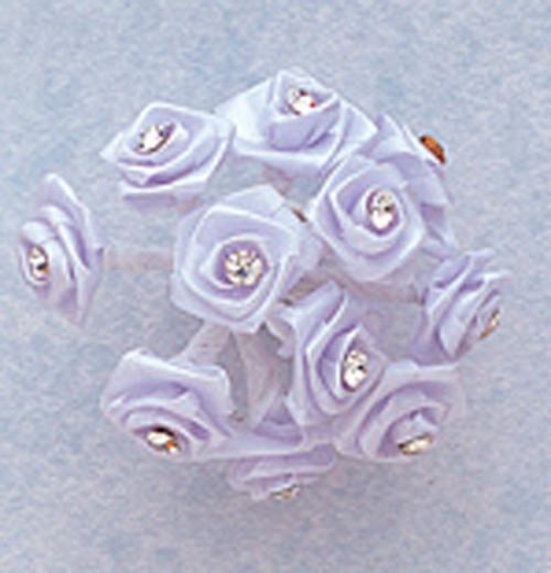 "3/4"" Light Blue Silk Rose Flowers with Rhinestones - Pack of 144"