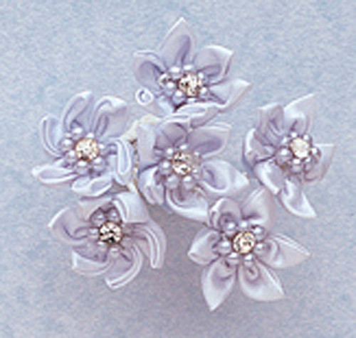 """1"""" Light Blue Satin Flowers with Rhinestone and Pearl - Pack of 72"""