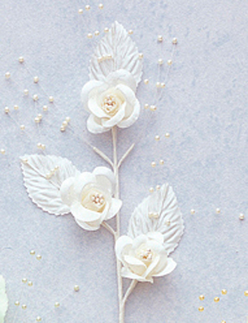 """6"""" Ivory Small Rose Flowers with Spray - Pack of 12"""