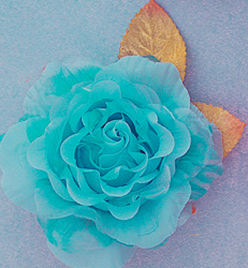 """4"""" Turquoise Large Silk Single Rose Flowers - Pack of 6"""