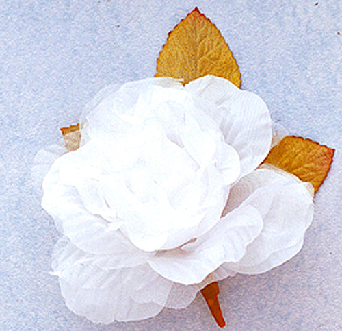 """4"""" White Large Silk Single Rose Flowers - Pack of 6"""