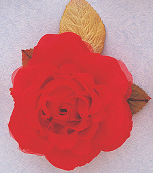 """4"""" Red Large Silk Single Rose Flowers - Pack of 6"""