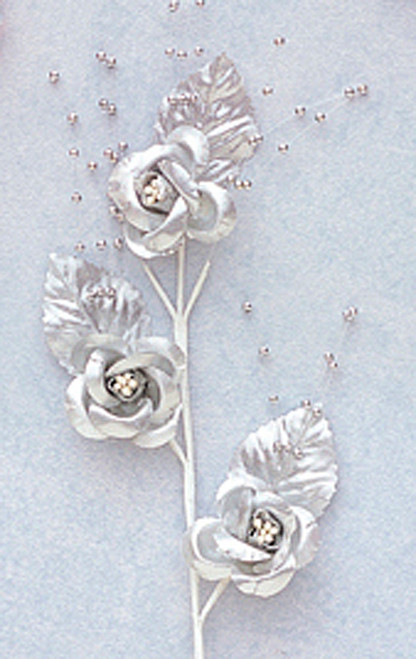 """6"""" Silver Small Rose Flowers with Spray - Pack of 12"""