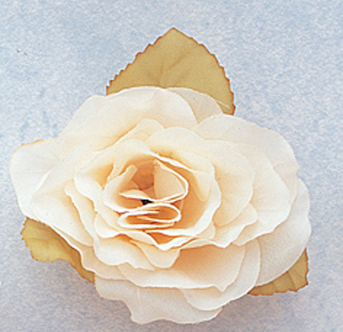 """3"""" Ivory Dry Single Rose Silk Flowers with Plastic Base - Pack of 12 Pieces"""