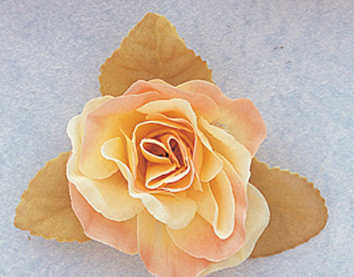"""3"""" Peach Dry Single Rose Silk Flowers with Plastic Base - Pack of 12 Pieces"""