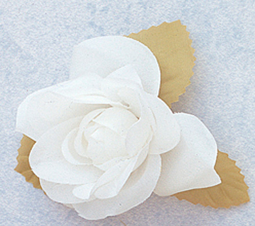 """3"""" White Dry Single Rose Silk Flowers with Plastic Base - Pack of 12 Pieces"""