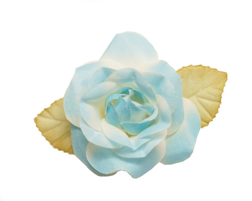 "2"" Light Blue Dry Single Rose Silk Flowers with Plastic Base - Pack of 12 Pieces"