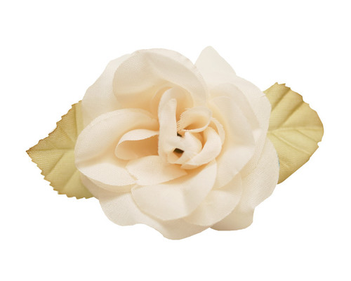 "2"" Ivory Dry Single Rose Silk Flowers with Plastic Base - Pack of 12 Pieces"
