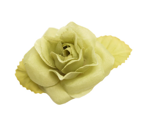"2"" Sage Green Dry Single Rose Silk Flowers with Plastic Base - Pack of 12 Pieces"