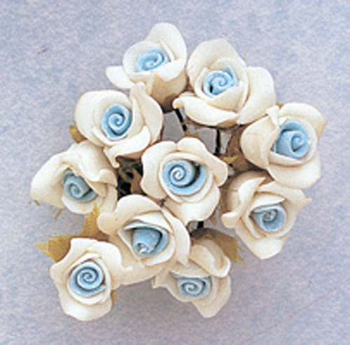 "5/8"" Light Blue Clay Rose Flowers with Leaves - Pack of 120"