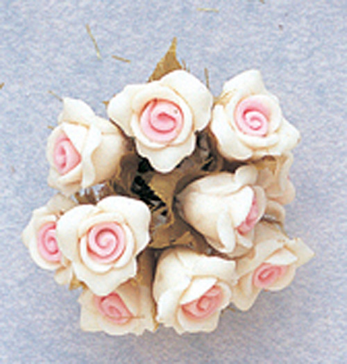 "5/8"" Pink Clay Rose Flowers with Leaves - Pack of 120"