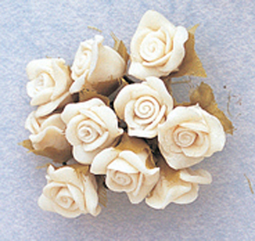 "5/8"" White Clay Rose Flowers with Leaves - Pack of 120"