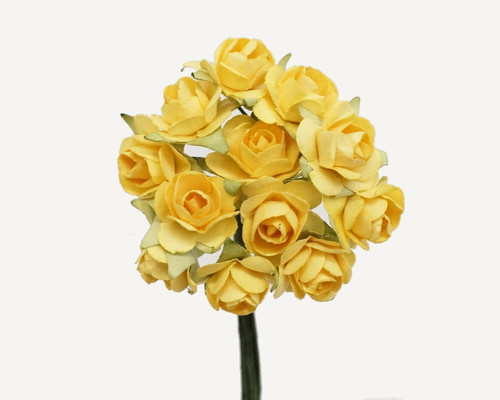 """1/2"""" Banana Small Rose Mulberry Craft Paper Flowers - Pack of 144"""