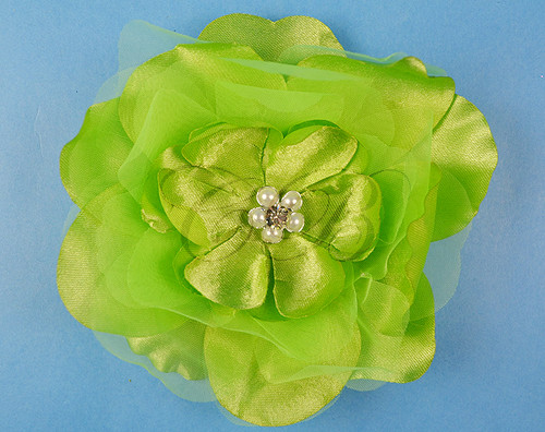 "4.5"" Apple Green Large Silk Flowers with Rhinestone - Pack of 12 Pieces"