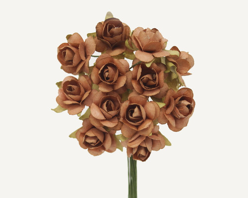 """1/2"""" Brown Small Rose  Mulberry Craft Paper Flowers - Pack of 144"""