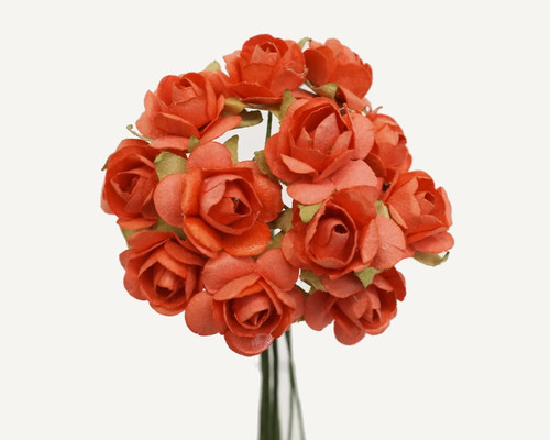 """1/2"""" Coral Small Rose Mulberry Craft Paper Flowers - Pack of 144"""