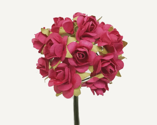 """1/2"""" Fuchsia Small Rose Mulberry Craft Paper Flowers - Pack of 144"""