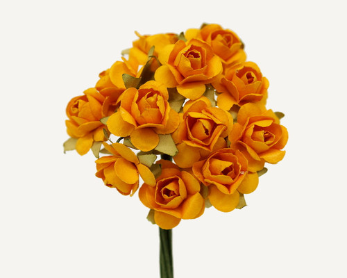 """1/2"""" Gold Yellow Small Rose Mulberry Craft Paper Flowers - Pack of 144"""