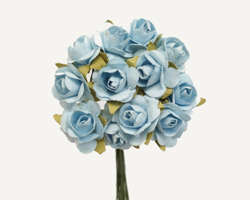 """1/2"""" Light Blue Small Rose Mulberry Craft Paper Flowers - Pack of 144"""