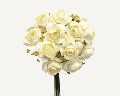 """1/2"""" Ivory Small Rose Mulberry Craft Paper Flowers - Pack of 144"""