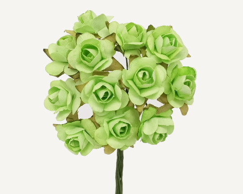 """1/2"""" Mint Small Rose Mulberry Craft Paper Flowers - Pack of 144"""
