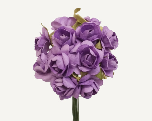 """1/2"""" Lavender Small Rose Mulberry Craft Paper Flowers - Pack of 144"""