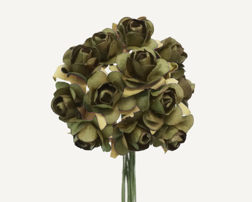 Olive Small Rose Mulberry Craft Paper Flowers - Pack of 144