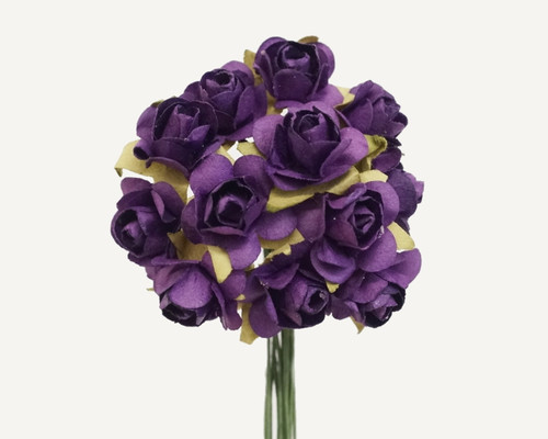 """1/2"""" Purple Small Rose Mulberry Craft Paper Flowers - Pack of 144"""