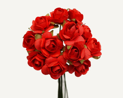 """1/2"""" Red Small Rose Mulberry Craft Paper Flowers - Pack of 144"""