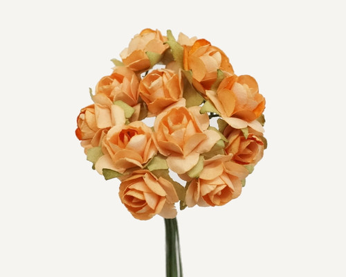 """1/2"""" Peach Small Rose Mulberry Craft Paper Flowers - Pack of 144"""