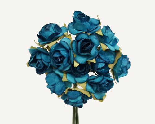 """1/2"""" Turquoise Small Rose Mulberry Craft Paper Flowers - Pack of 144"""