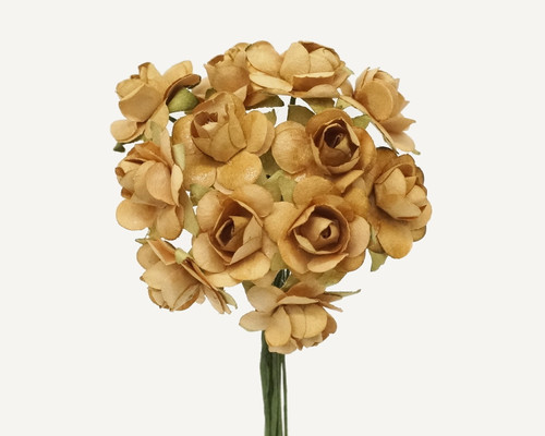 """1/2"""" Tan Small Rose Mulberry Craft Paper Flowers - Pack of 144"""