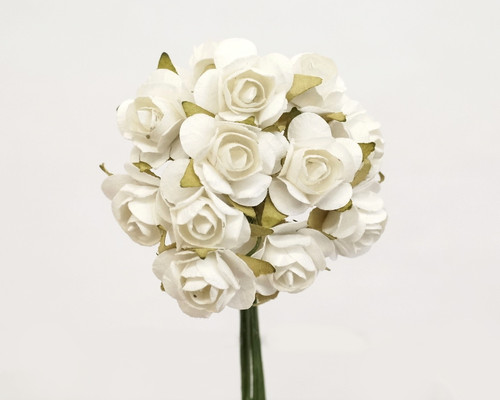 """1/2"""" White Small Rose Craft Paper Flowers - Pack of 144"""