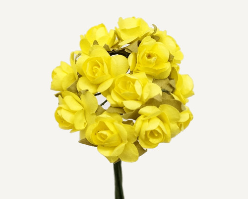 """1/2"""" Yellow Small Rose Mulberry Craft Paper Flowers - Pack of 144"""