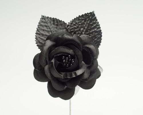 """2.5"""" Black Silk Single Rose Flowers - Pack of 12"""