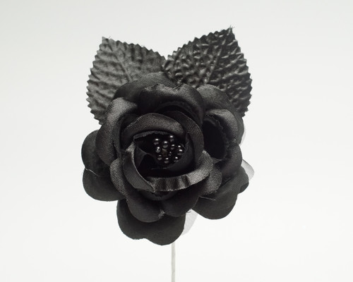 "2.5"" Black Silk Single Rose Flowers - Pack of 12"