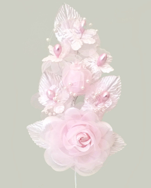 """6"""" Pink Silk Corsage Flowers with Pearl Spray - Pack of 12"""