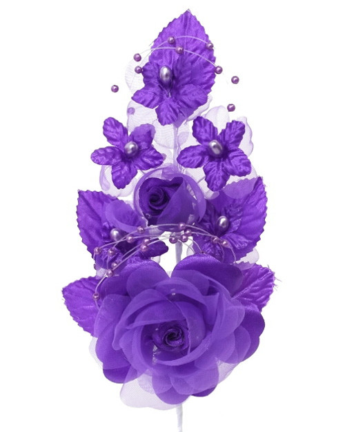 "6"" Purple Silk Corsage Flowers with Pearl Spray - Pack of 12"