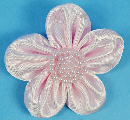 """2.5"""" Pink Satin Flowers with Pearl - Pack of 12"""