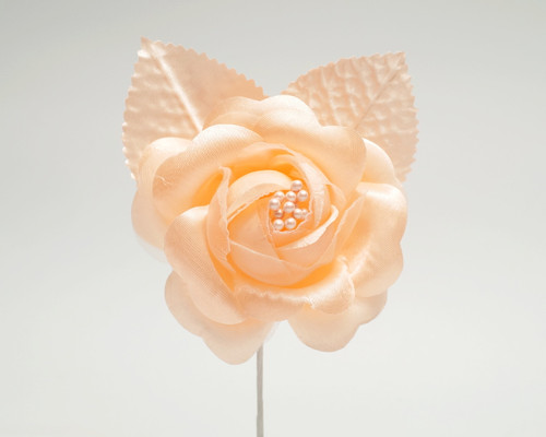 "2.5"" Peach Silk Single Rose Flowers - Pack of 12"