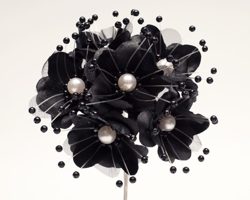 "1.5"" Black Silk Flowers with Pearl - Pack of 72"
