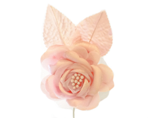 "2.5"" Pink Silk Single Rose Flowers - Pack of 12"