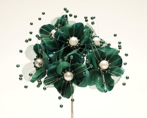 """1.5"""" Hunter Green Silk Flowers with Pearl - Pack of 72"""