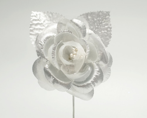 "2.5"" Silver Silk Single Rose Flowers - Pack of 12"