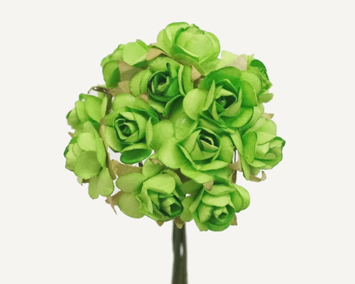 """1/2"""" Apple Green Small Rose Mulberry Craft Paper Flowers - Pack of 144"""