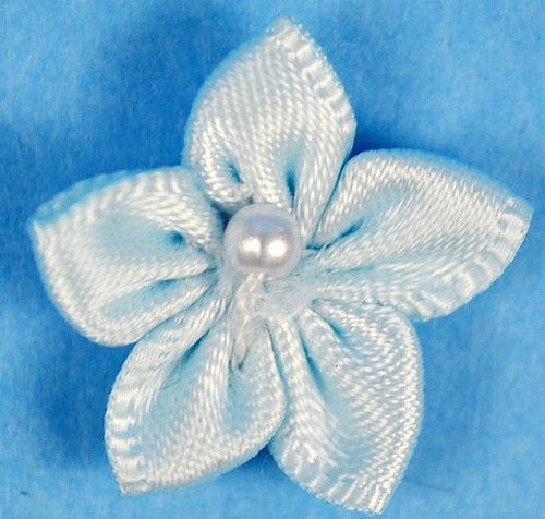 """3/4"""" Light Blue Satin Star Flowers with Pearl - Pack of 144"""