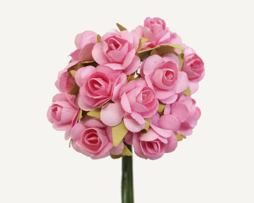"""1/2"""" Pink Small Rose Mulberry Craft Paper Flowers - Pack of 144"""