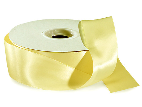"1.5""x50 yard Light Yellow Polyester Satin Gift Ribbon - Pack of 5 Rolls"